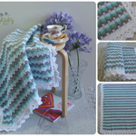 MInt/Grey/White Hand Crocheted Baby Blanket Afghan