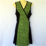 Ladies 8 to 14 Wrap Dress - retro green bubble print, spot, polka dot