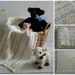 Cream & Multi-coloured Hand Crocheted Baby Blanket