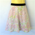 Pink Floral A Line Skirt - ladies sizes avail - paisley, pastel, flower, daisy