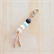 Black, mint and stone polymer clay keyring with geometric timber bead