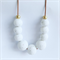 White stone chunky statement polymer clay bead necklace