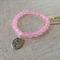 Pink Quartz Gemstone Bracelet with Oval Tree charm