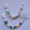 Duo of Silicone Beaded Dummy Clips in Grey & Cream and Mint & Cream