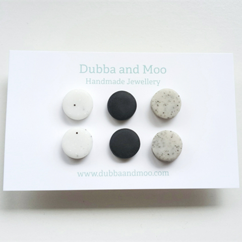 Handmade Tan /& Black Marbled Clay Stud Earrings