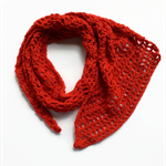 Women's red handmade scarf crocheted woollen neck warmer
