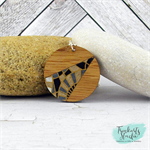 Black, Silver & Gold Japanese Chiyogami Paper Covered Wood Circle Necklace