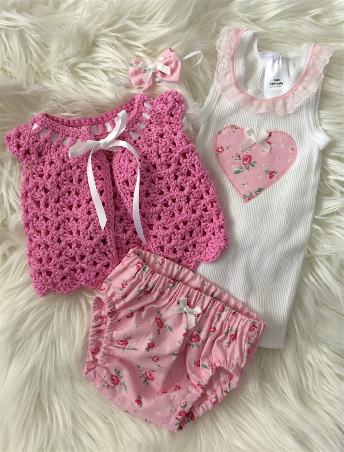 Pretty New Baby Gift Set Bloomers Singlet Crocheted Jacket