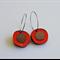Red Mirror Loop Pebble Wooden Earrings