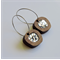 Chunky Silver Glitter Dot Pebble Wooden Earrings