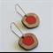 Red Dot Pebble Wooden Earrings