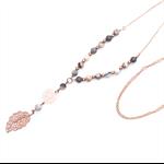 Rose gold leaf filigree necklace in grey