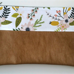 Sprigs and Blooms with Tan Pleather Nappy Diaper Carry All Clutch Pouch Wallet