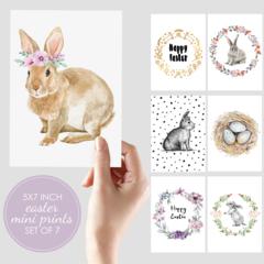 Set of 7 Easter mini prints. 5x7 size.