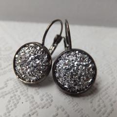 Gunmetal Black Drops with Metallic Silver Glitter Druzy - Nickel Free Earring