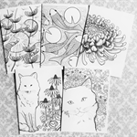 5 Colour-Me-In cards. NATURE.
