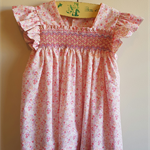 Smocked dress with butterfly sleeve, floral print in peach. Size 18 months