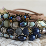 "Set of 4 Bohemian ""Wild Blueberry"" Boho Chic Earthy Indie Gypsy Wrap  Bracelets"