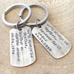 Dog Tag Keyrings, His and Hers Keychains, Hand Stamped Keychain, Quote Keychains