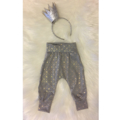 Grey & Gold Geometric Cuff Slouch Pants