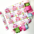 FREE POST ~ PINK OWLS * Muslin Baby Security Blankie Taggie Toy