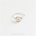 Wrapped Sterling Silver Swarovski Pearl Ring