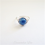 Sterling Silver Swarovski Blue Pearl Wire Wrapped Ring