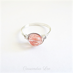 Sterling Silver Cherry Quartz Gemstone Wire Wrapped Ring