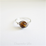 Sterling Silver Wrapped Tigers Eye Gemstone Ring