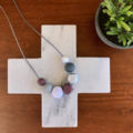 Silicone Nursing Necklace - Plum and Marble with Crochet Beads