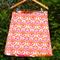 Retro orange-pink flowers, A line skirt