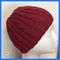 Hand-Knit, Child, Wool, Beanie Hat, Maroon Red