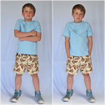 Boys Shorts in light weight cotton Pheasant brown pockets size 4-5