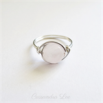 Sterling Silver Wire Wrapped & Rose Quartz Gemstone Ring
