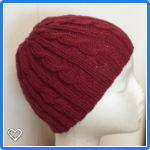 Toddler , Wool, Beanie Hat, Hand-Knit,  Maroon Red