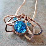 Aquamarine Crystal Wire Wrapped Solid Copper Jewellery Hair Pin Accessory