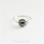 Hematite Gemstone Sterling Silver Wrapped Ring