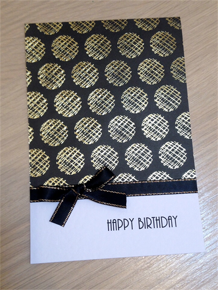 Female Happy Birthday card - gold spots