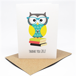 Teacher Card - Owl on Books - TEA006 - Thank You Card