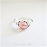 Cherry Quartz Sterling Silver Gemstone Wire Wrapped Ring