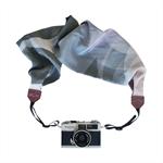 Scarf Camera Strap – winter blossom, silk, accessories, DSLR, floral, black