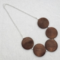 Silver and wood round bead necklace