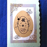 Green and Gold Easter Card on Hand Made Paper
