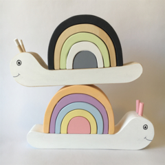 Hand painted Wooden Snail Stacker with Rainbow Shell. (6 Piece)
