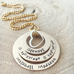 Hand Stamped Gold Necklace, Personalised Necklace, Mothers Day Gift