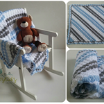 Blue, Grey, White Hand Crocheted Newborn Baby Blanket