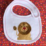 Baby bib, embroidered baby bib, lion embroidery, newborn or baby shower gift