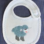 baby bib, newborn, baby shower, newborn baby gift, embroidered sheep