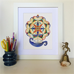 Compass Rose & Paper boat - Nautical A4 Print