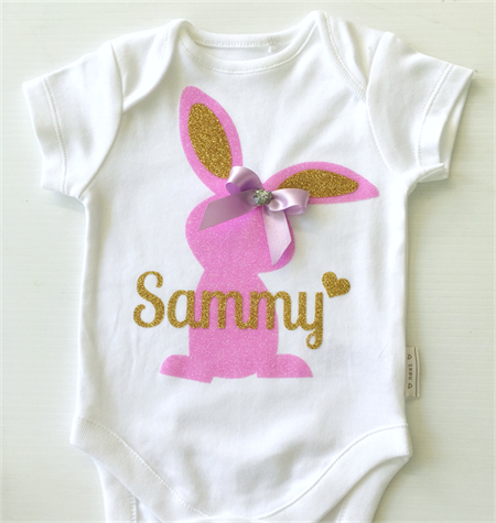 Easter Bunny Personalized Name Baby Onesie Baby Bunny Bodysuit